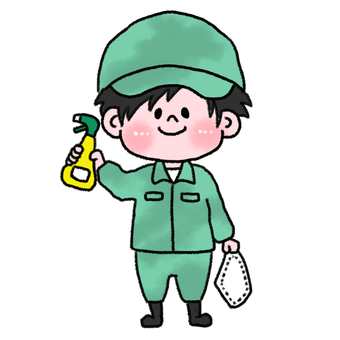 Handwriting style illustration cleaning man
