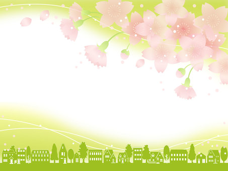 Cityscape cherry blossom frame