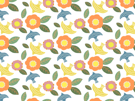 Background material pattern of birds and flowers