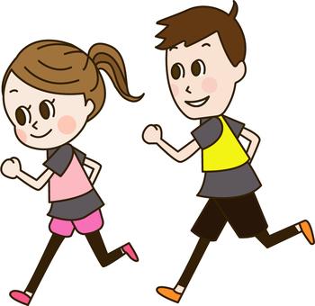달리기를하는 커플