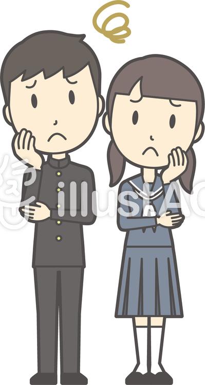 中学生男女セット-062-全身のイラスト