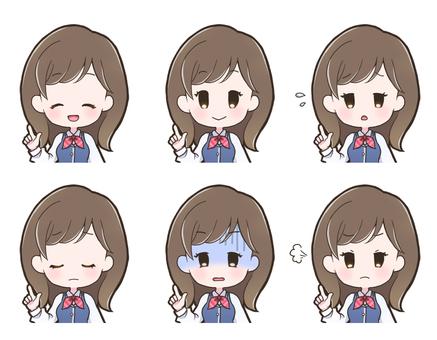 Female facial expression set _ uniform _ 201 _ C