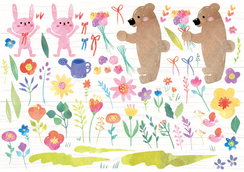 Flower and animal watercolor material set A4 size