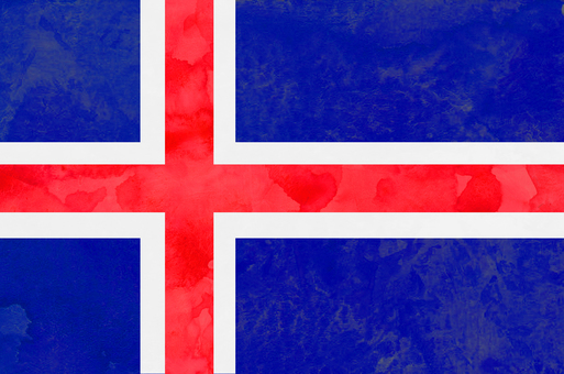 Flag watercolor Iceland
