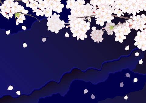Sakura Plate _ Horizontal night brown cherry tree