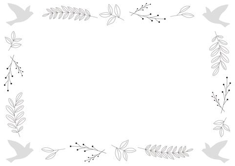 鳥と植物のフレーム-2
