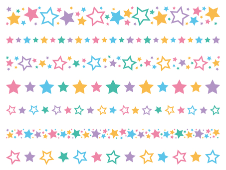 Colorful star line set