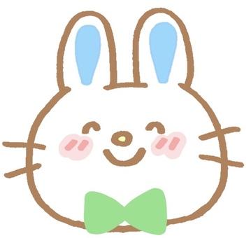 나비 넥타이 귀여운 토끼의 일러스트