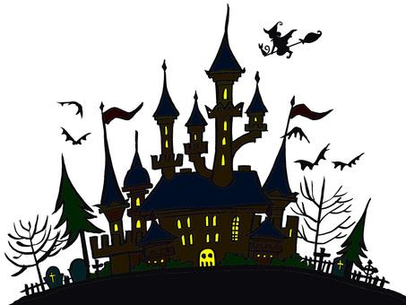 Halloween castle background white