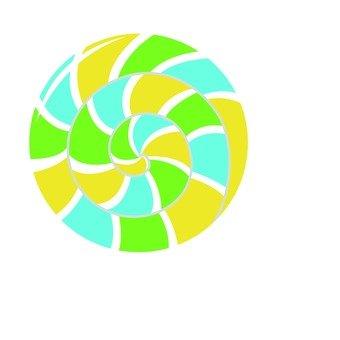 Pelopo candy, yellow green, light blue, yellow