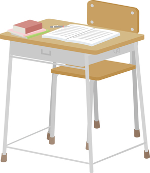 School desk and chair and textbook (front)