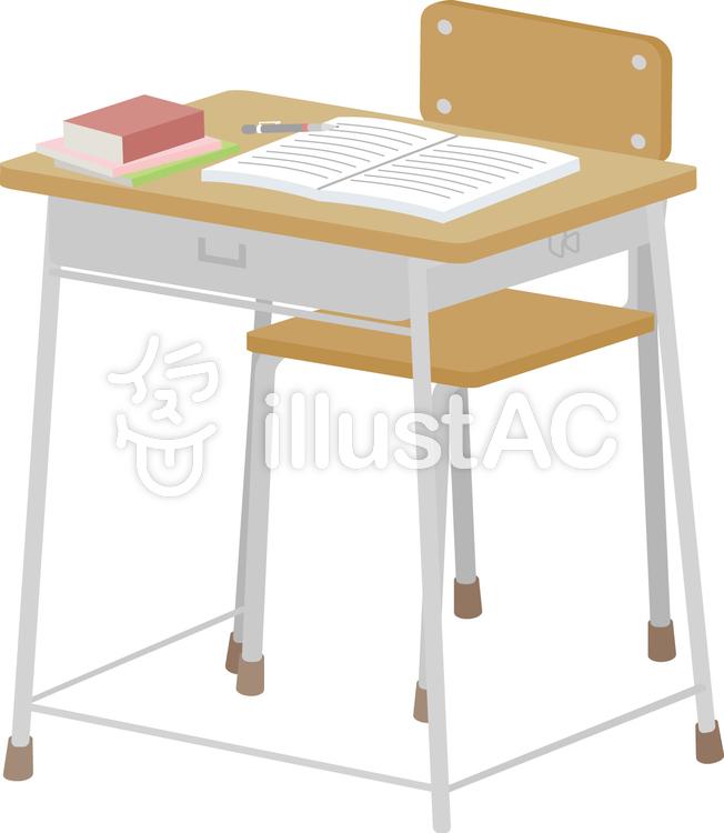 学校用机と椅子と教科書前イラスト No 885355無料イラストなら