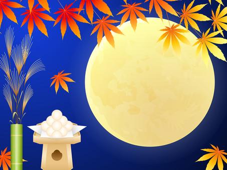 紅葉・満月・月見団子・ススキの背景
