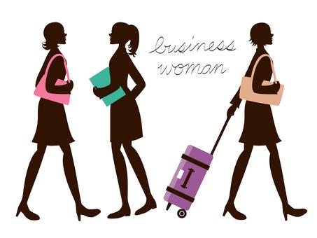 Fashionable female silhouettes walking