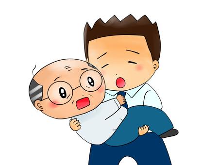 同僚を抱き上げる