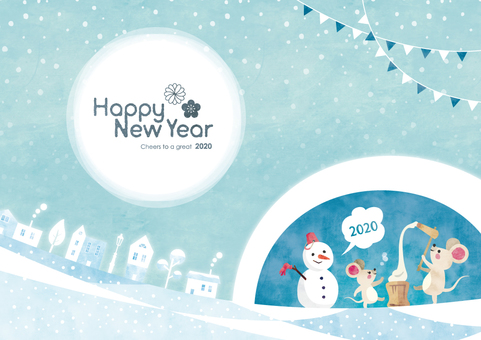 Winter background frame 071 new year mouse watercolor