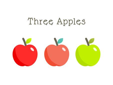 かわいい3色のりんご|ベクターデータ