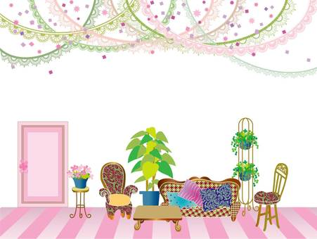 Interior _ drawing room _ pink
