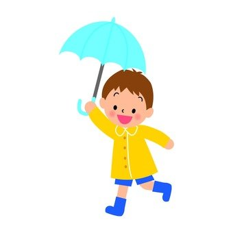 A boy pointing an umbrella