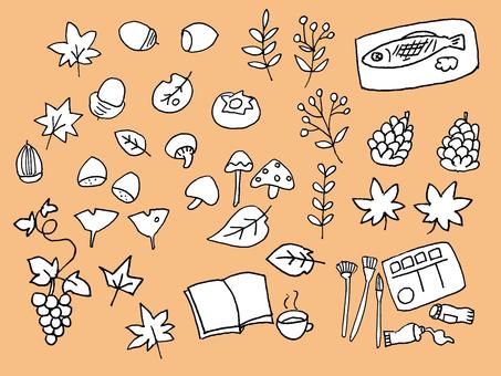 Hand-drawn illustrations in autumn