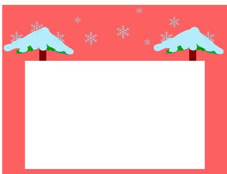 木頭框架與雪的