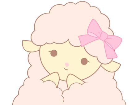 ピンクのひつじちゃん(微笑み)