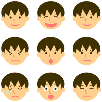 Various expressions of boys
