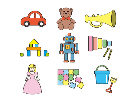 Illustration set of toys