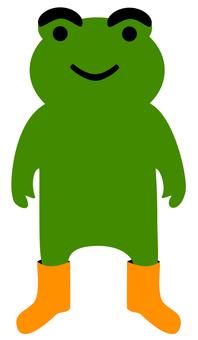 Green frog wearing orange boots