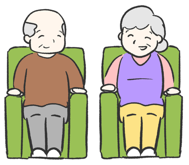 Old man sitting on sofa