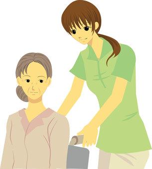 Wheelchair elderly and caregiver ①