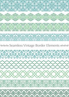 Seamless Damask patterned border set