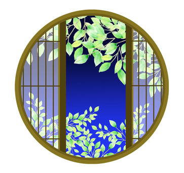 Fresh green from a round window ★ 0135-M
