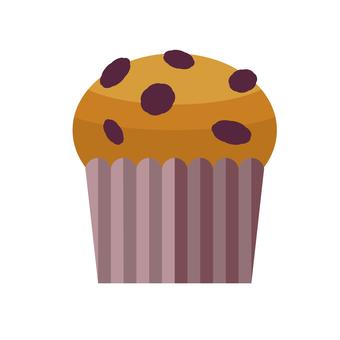 Simple illustration of raisin muffin
