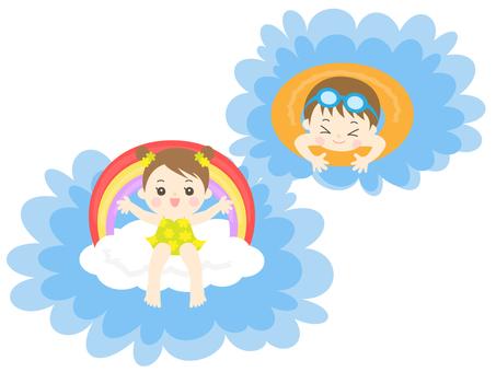 プールで遊ぶ男の子と女の子_園児