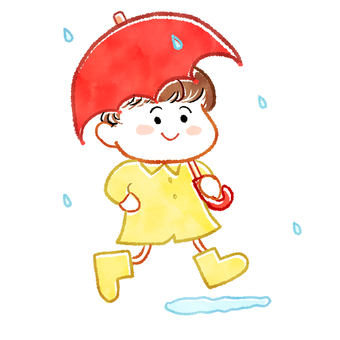 Boy holding an umbrella