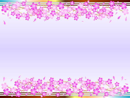 Simple 6 lines Cherry Blossoms Frame 05