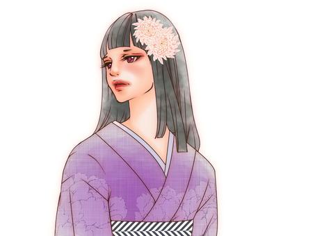 着物美女(花飾り)