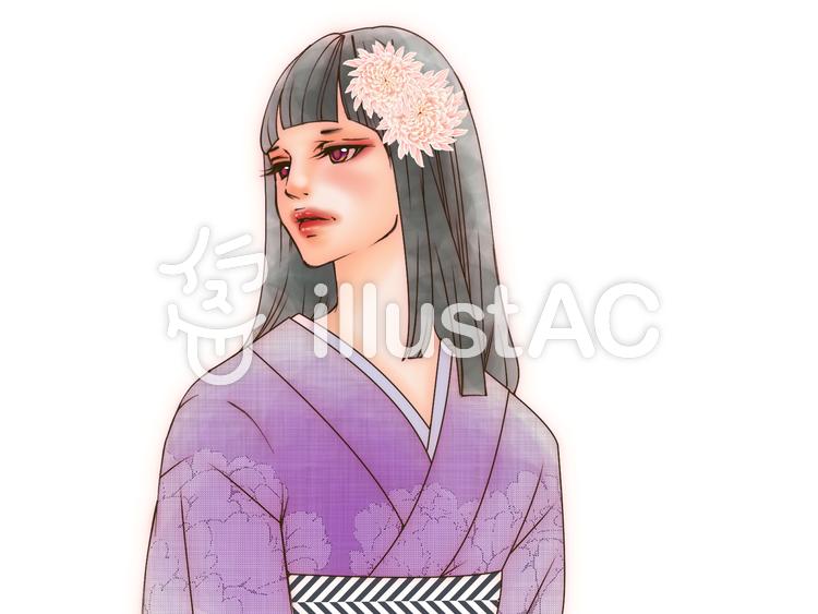 着物美女(花飾り)のイラスト
