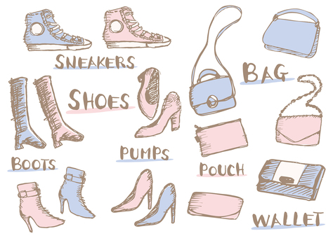 Illustration set for hand-drawn bags and shoes for women