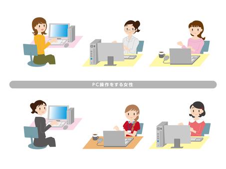 PC 작업을하는 여성