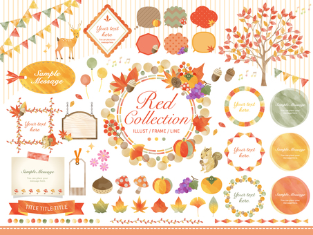 Autumn flora and fauna / watercolor style frame speech bubble set