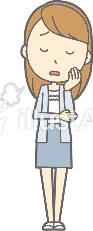 女子大生a-ため息-全身のイラスト