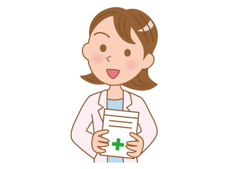 Pharmacist giving medicine