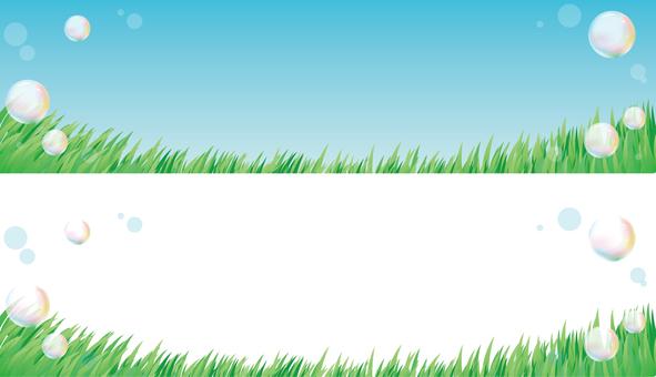 초원과 비눗 방울 배경 배너