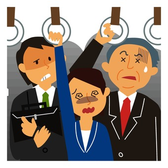 Work style reform (crowded train)