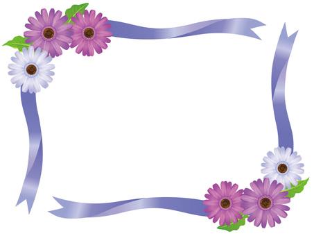 Purple Gerbera Flower and Ribbon Frame 02