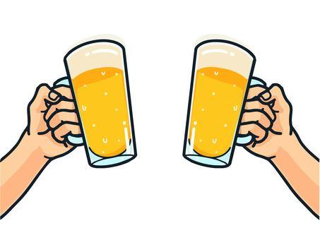 乾杯(ビール)のイラスト