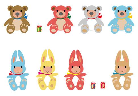 Bear and rabbit stuffed toy