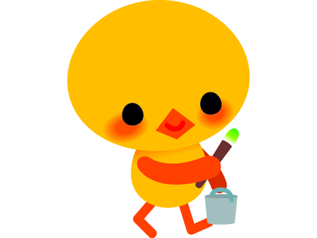 Chick and paintbrush